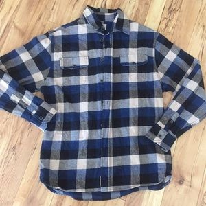 Jachs men's M blue black flannel button up cotton